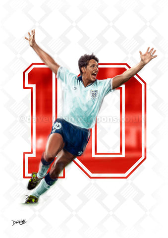 Lineker 10. Limited edition art print. (A4 size 297mm x 210mm) or A3 size (420mm x 297mm)