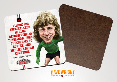 Jimmy Montgomery - Sunderland Legend -  drinks coaster.