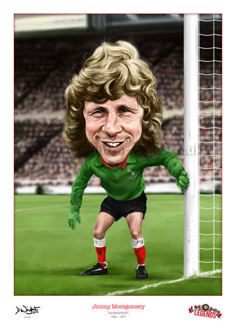 Jimmy Montgomery Caricature. Red & White Legends. (Sunderland AFC) Limited edition print. (A4 size 297mm x 210mm) or A3 size (420mm x 297mm)