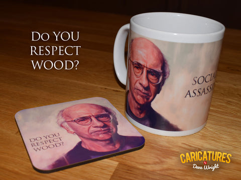 Larry David  - Social Assassin. Curb Your Enthusiasm. Limited Edition Mug & Coaster set