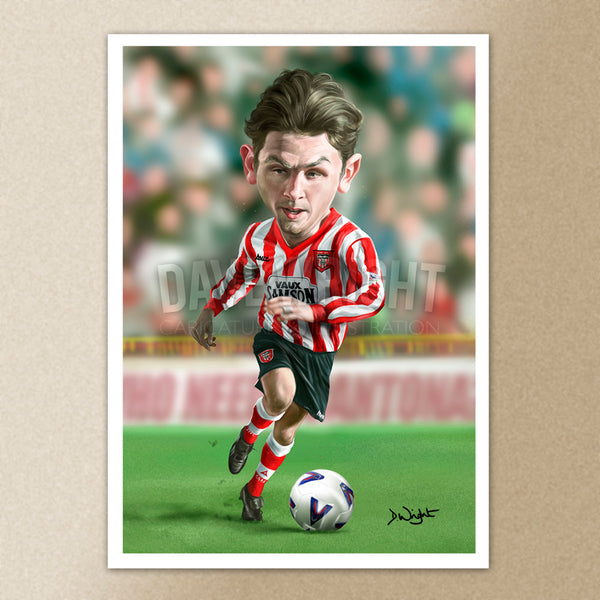 Richard Ord (Sunderland AFC)caricature print. (A4 size 297mm x 210mm) or A3 size (420mm x 297mm)