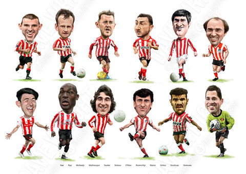 Cult heroes & Crowd favourites (Sunderland AFC) Limited edition caricature print