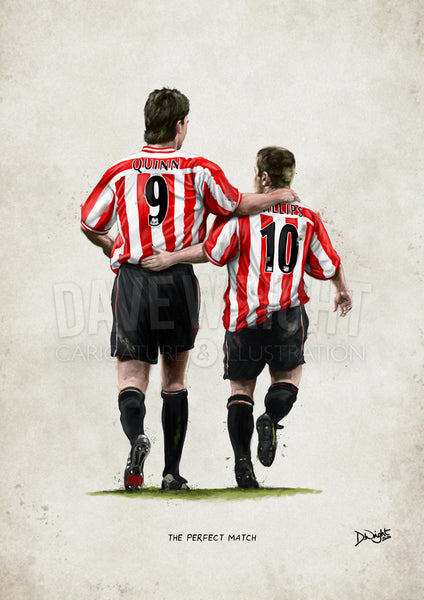'The Perfect Match' Niall Quinn and Kevin Phillips, Sunderland AFC - A4 or A3 print