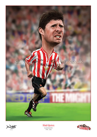 Niall Quinn Caricature. Red & White Legends. (Sunderland AFC) Limited edition print. (A4 size 297mm x 210mm) or A3 size (420mm x 297mm)