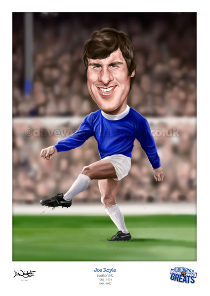 Joe Royle Caricature. Goodson Greats. (Everton FC) Limited edition print. (A4 size 297mm x 210mm) or A3 size (420mm x 297mm)