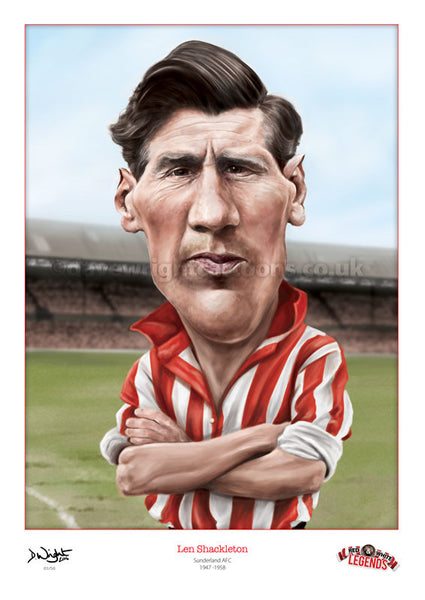 Len Shackleton Caricature. Red & White Legends. (Sunderland AFC) Limited edition print. (A4 size 297mm x 210mm) or A3 size (420mm x 297mm)