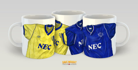 The League Champions - retro kit (Everton FC) mug - by Dave Wright