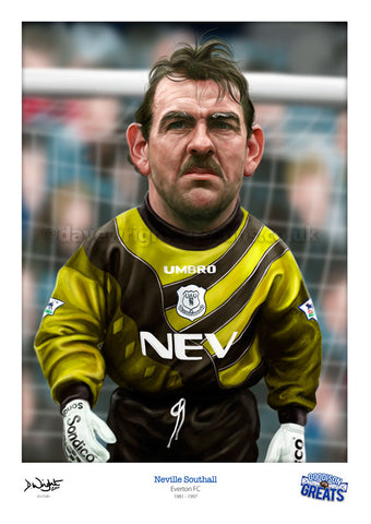Neville Southall Caricature. Goodson Greats. (Everton FC) Limited edition print. (A4 size 297mm x 210mm) or A3 size (420mm x 297mm)