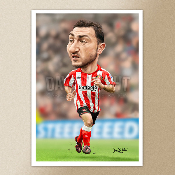Steed Malbranque (Sunderland AFC) caricature print. (A4 size 297mm x 210mm) or A3 size (420mm x 297mm)