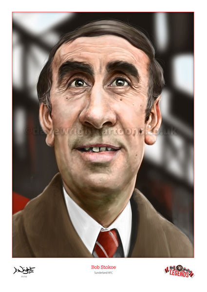 Bob Stokoe Caricature. Red & White Legends. (Sunderland AFC) Limited edition print. (A4 size 297mm x 210mm) or A3 size (420mm x 297mm)