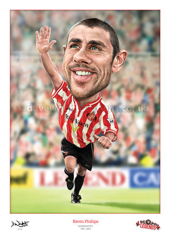Kevin Phillips Caricature. Red & White Legends. Limited edition print. (A4 size 297mm x 210mm) or A3 size (420mm x 297mm)