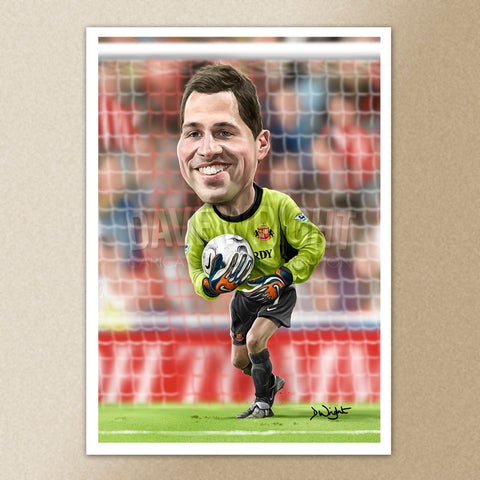 Thomas Sorensen (Sunderland AFC) caricature print. (A4 size 297mm x 210mm) or A3 size (420mm x 297mm)