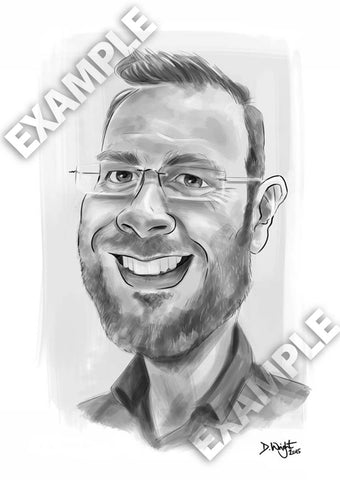 'Live style' black and white 1 person caricature