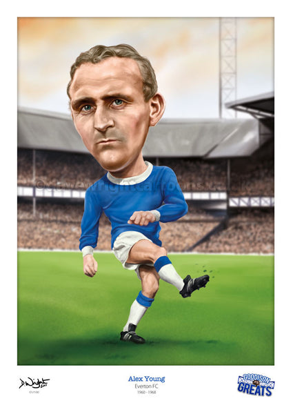 Alex Young Caricature. Goodson Greats. (Everton FC) Limited edition print. (A4 size 297mm x 210mm) or A3 size (420mm x 297mm)