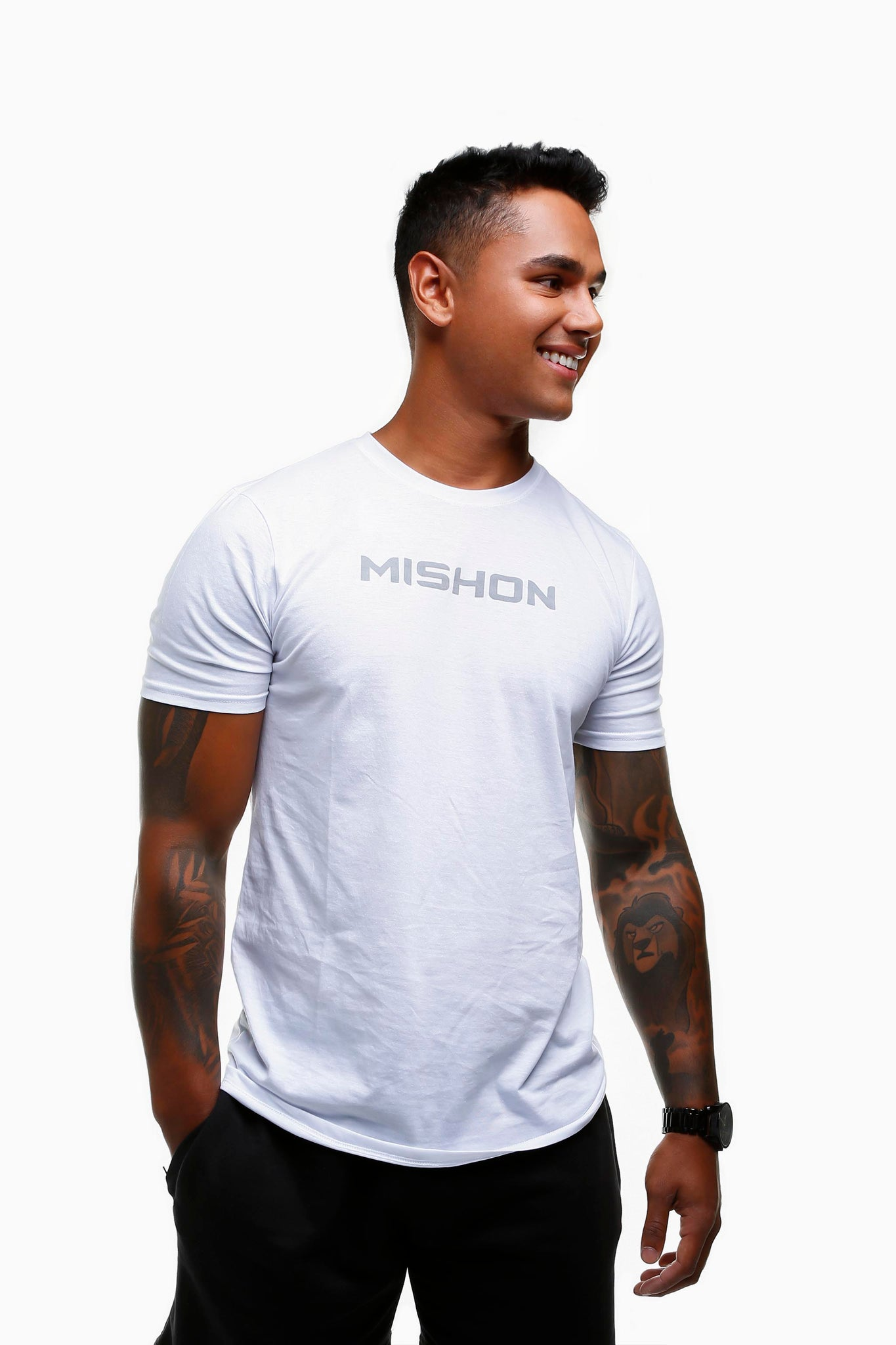 Mishon Grey on White Tee