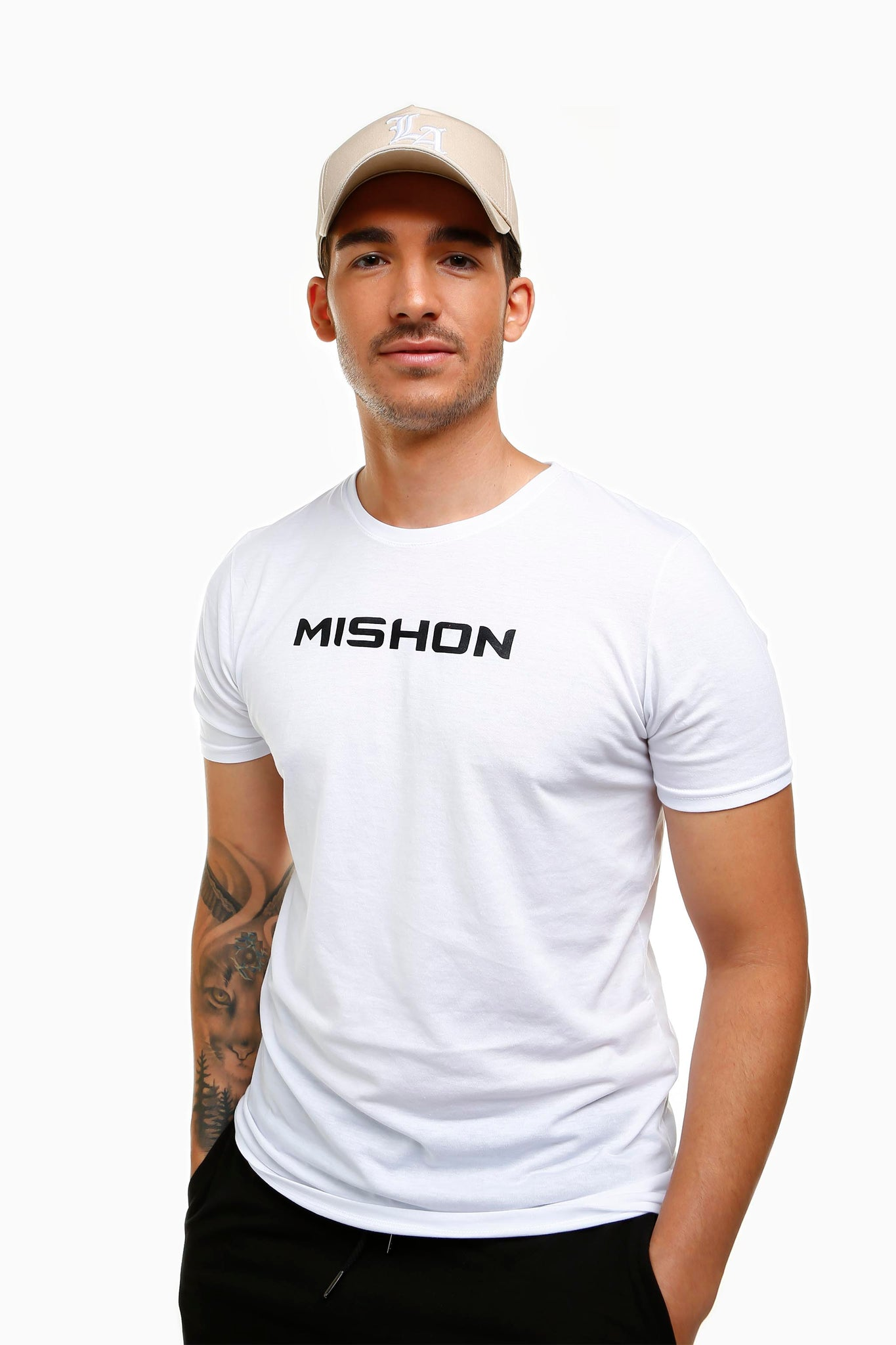 Mishon Black on White Tee