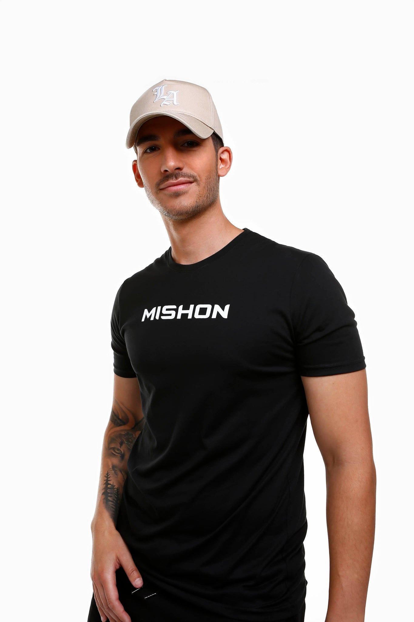 Mishon White on Black Tee