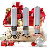 Eukein Electric Salt And Pepper Grinder, Battery Powered Automatic Salt Or Pepper Mill Shaker With A Light Set At Bottom, One Hand Grips Thumb Operation, Easy To Refill, Ceramic Burr
