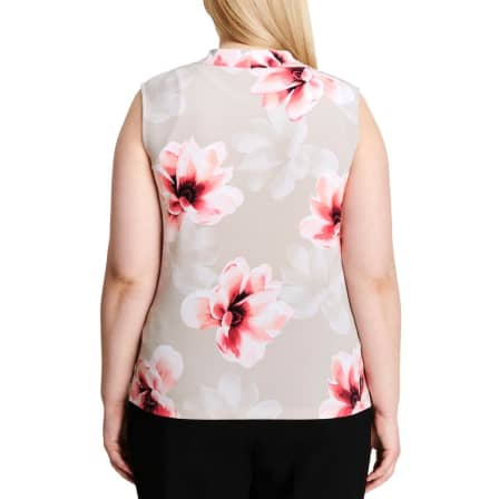 Calvin Klein Womens Tan Sleeveless Floral Shell Top Plus 1X*IN STOCK*