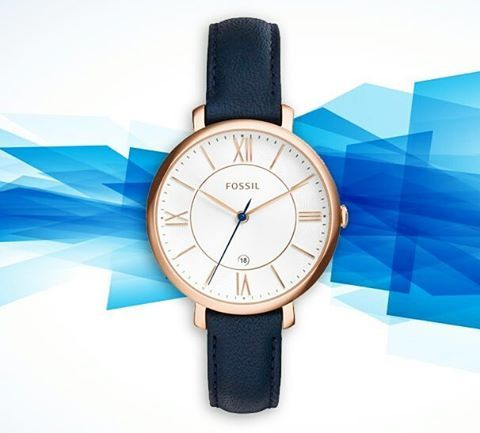 Fossil ES3843 Jacqueline Ladies Rose Gold-Tone Watch with Navy Leather Band