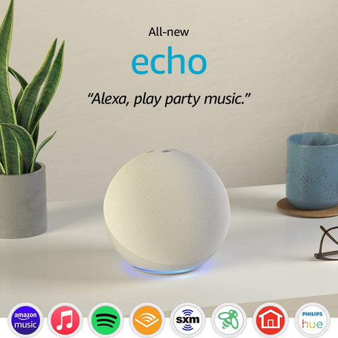 Echo (4th Gen) | With premium sound, smart home hub, and Alexa | Glacier White