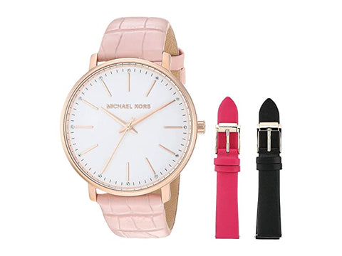 "Michael Kors Women Pyper Leather Pink with White Dial Watch MK2775""In Stock"""