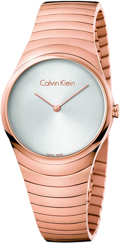 Calvin Klein K8A23646 Whirl Quartz Silver Dial Rose Gold-Tone Ladies Watch