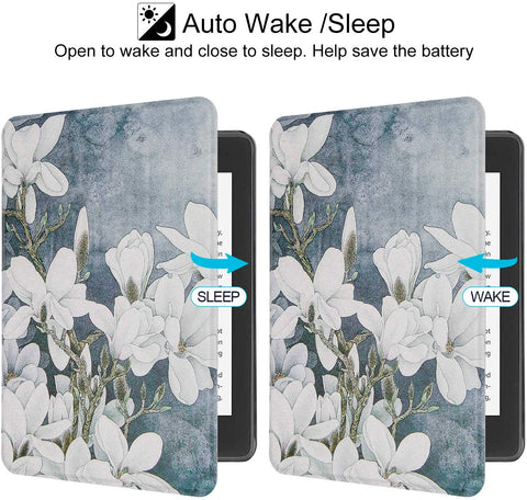 **FREE SHIPPING IN STOCK** Case Fits Kindle Paperwhite (10th Generation, 2018 Release)A-White Flower