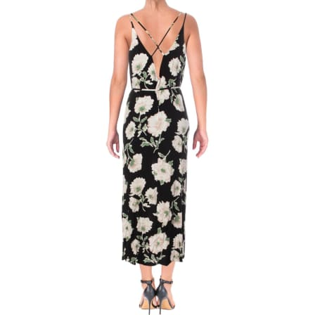 Aqua Womens Soprano Black Floral Print Crisscross Casual Maxi Dress S*IN STOCK**