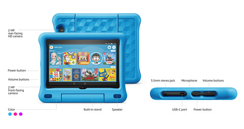 "2020 10th Gen Fire HD 8 Kids Edition tablet, 8"" HD 32 GB, Purple Kid-Proof Case"
