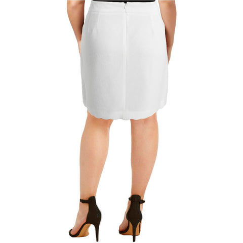 Tommy Hilfiger Womens Ivory Textured Scalloped A-Line Skirt 0*IN STOCK*Brand New