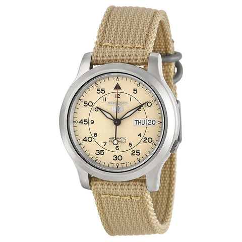 *FREE SHIPPING IN STOCK*Seiko Men's SNK803 Seiko 5 Automatic Watch with Beige Canvas Strap