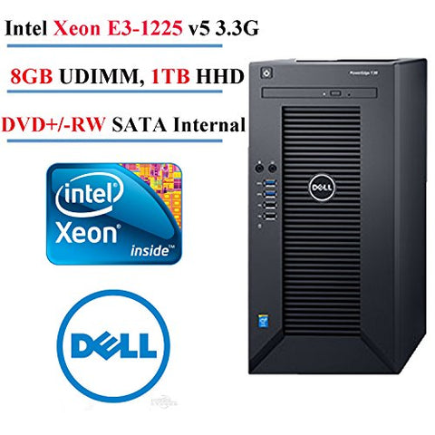 Dell PowerEdge T30, Intel Xeon E3-1225v5 (3.3Ghz), 8GB RAM, 1TB SATA, 1 Year Next Business Day Warranty