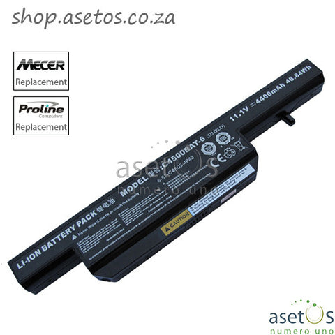 Battery For Mecer, Clevo, Proline C4500BAT-6 Battery Black, 11.1V 4400mAh 49Wh