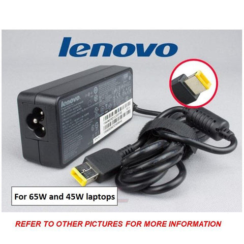Brand New & Sealed Genuine Original 65w Lenovo Charger AC Adapter | Yellow Slim Tip (20v, 3.25a)