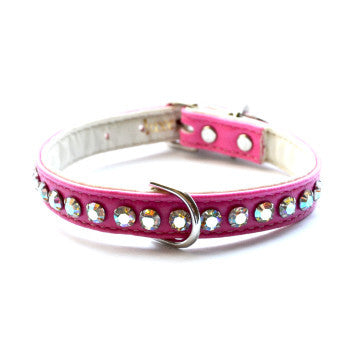 Matched Ashley Designer Hot Pink Dog Collar and Lead - Snooty Paws - 1