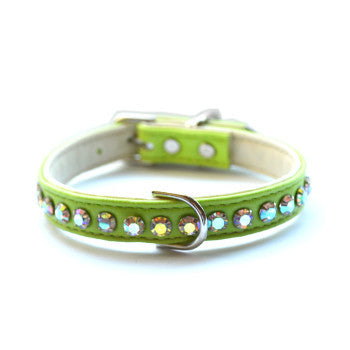 Matched Ashley Designer Lime Dog Collar - Snooty Paws - 1