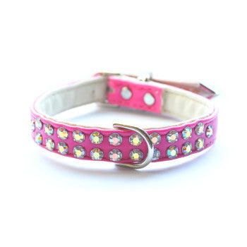 Charlotte Double Row Hot Pink Designer Dog Collar - Snooty Paws