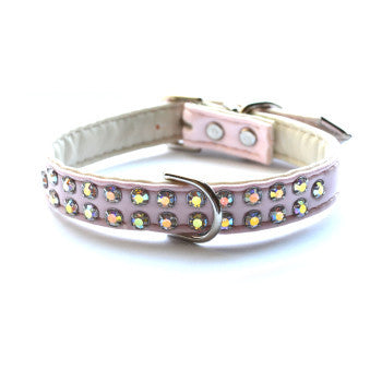 Matched Charlotte Double Row Light Pink Designer Dog Collar and Lead - Snooty Paws - 1