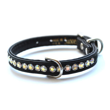 Matched Jackie O Designer Black Dog Collar and Lead - Snooty Paws - 1