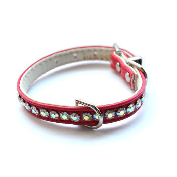 Jackie O Designer Red Dog Collar - Snooty Paws