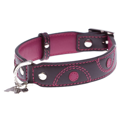 Kaedo Brown and Pink Leather Collar - Snooty Paws