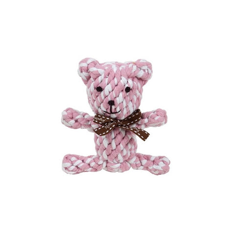 Pinkie the Pink Bear Rope Toy - Snooty Paws