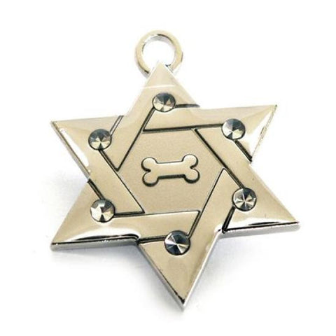 Star of David Collar ID Tag Silver - Snooty Paws