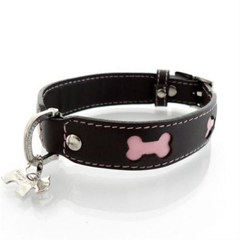 Brown and Pink Bone Collar - Snooty Paws - 1
