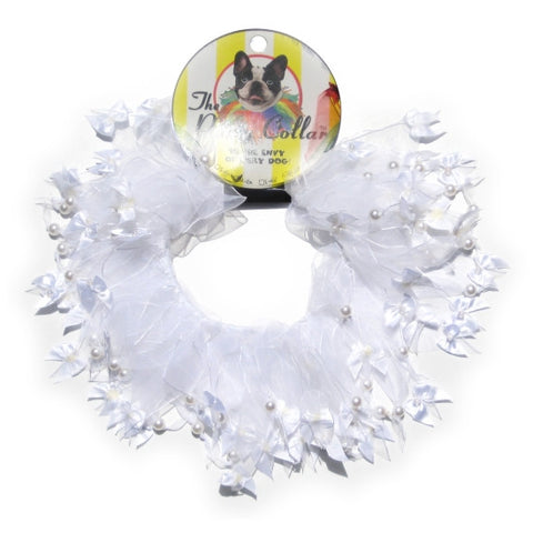 White Celebration Party Collar - Snooty Paws