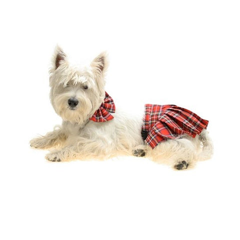 Tartan Red Dog Kilt - Snooty Paws - 1