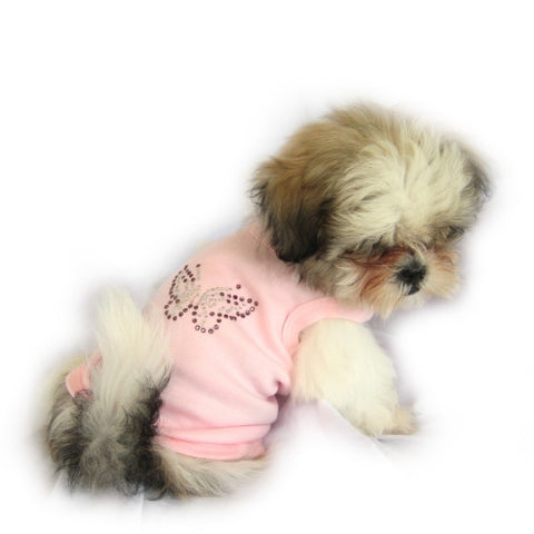 Pink Butterfly Dog Top - Snooty Paws - 1