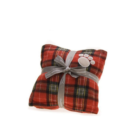 Red Tartan Pillow and Blanket - Snooty Paws