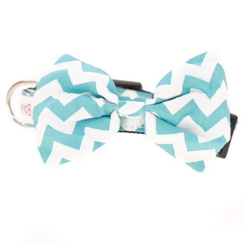 Bowtie Collar Green Chevron - Snooty Paws